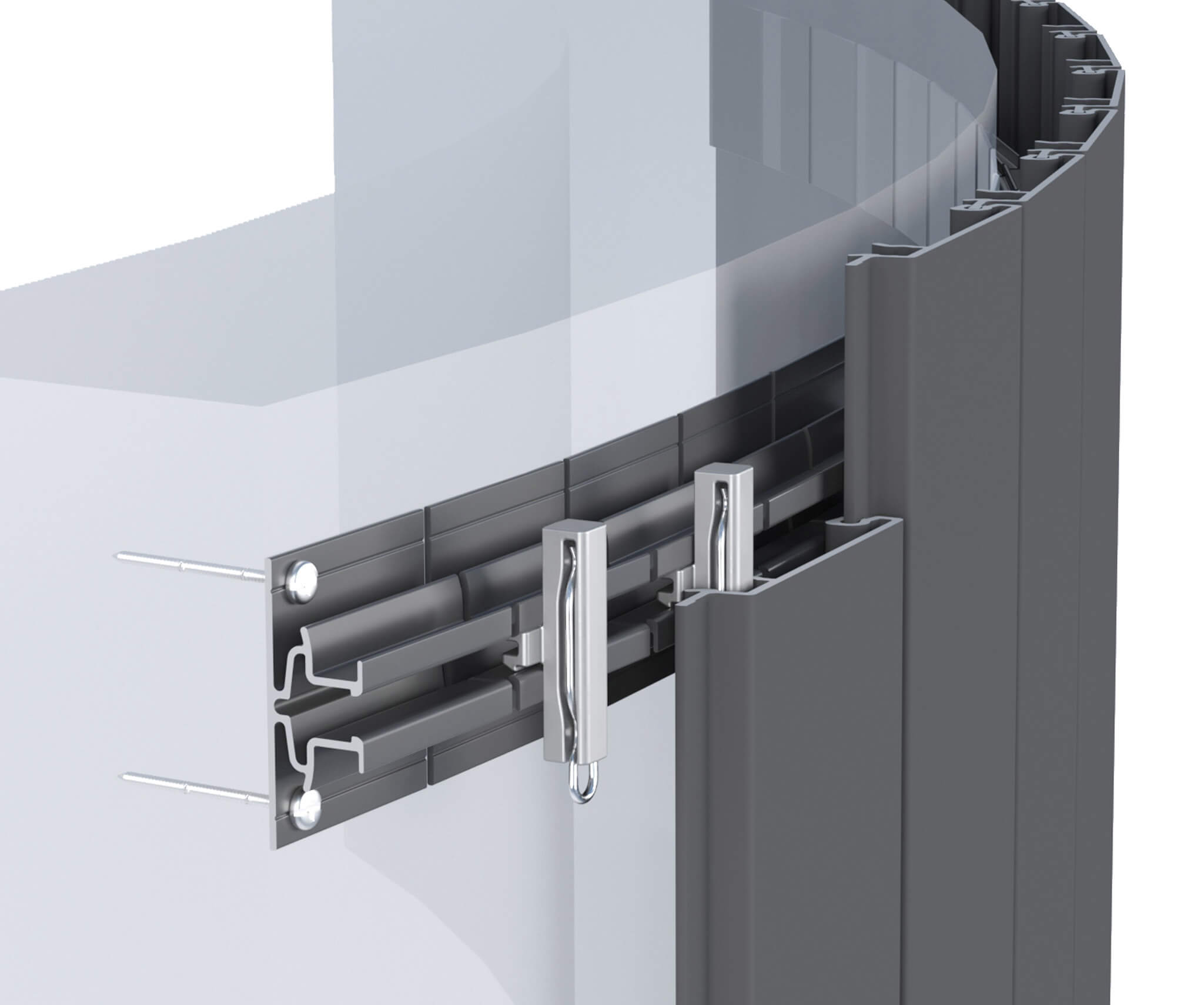 Sculptform Click-on Cladding curved mounting track