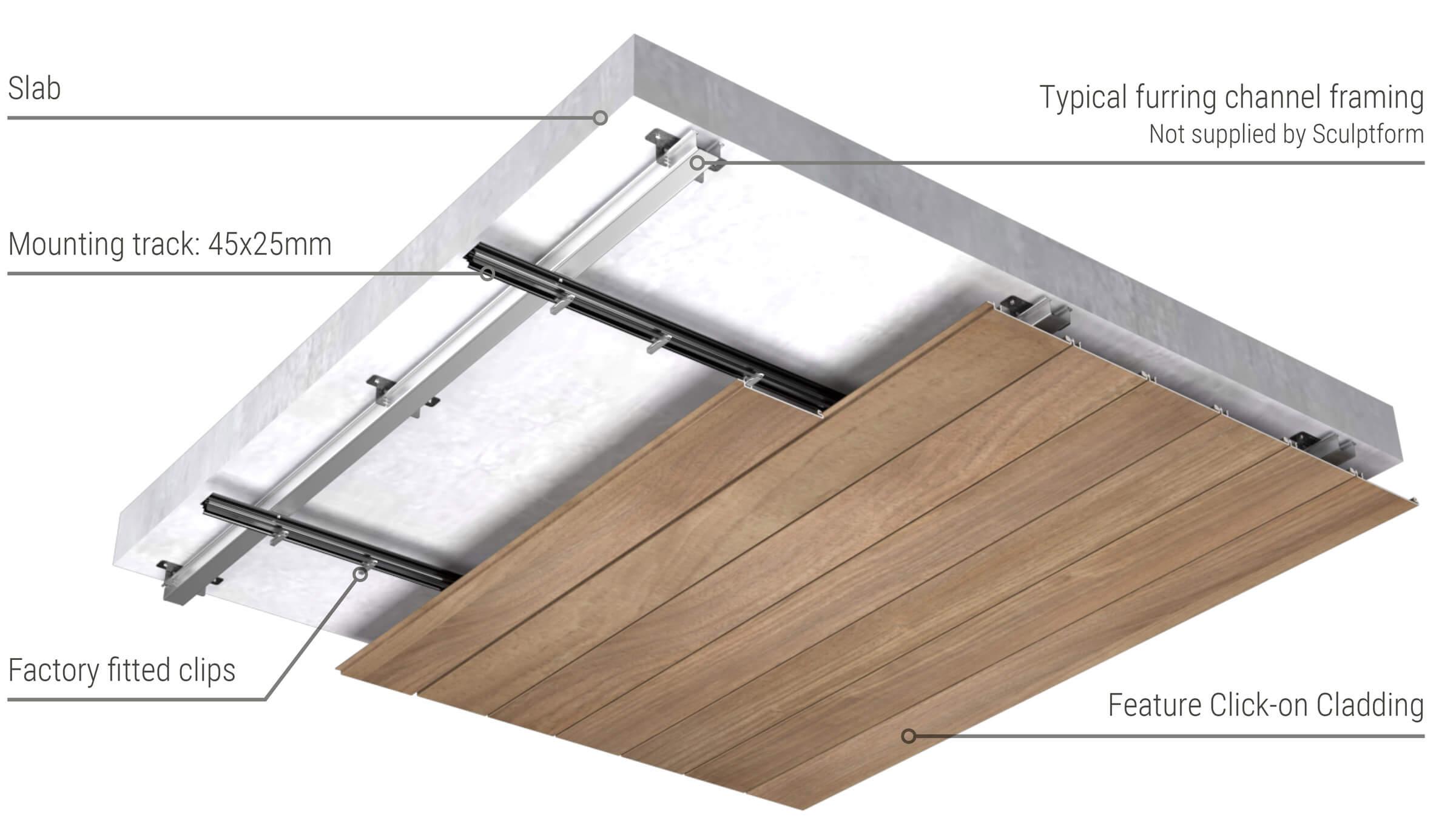 Metal Click-on Cladding direct fix ceiling setup