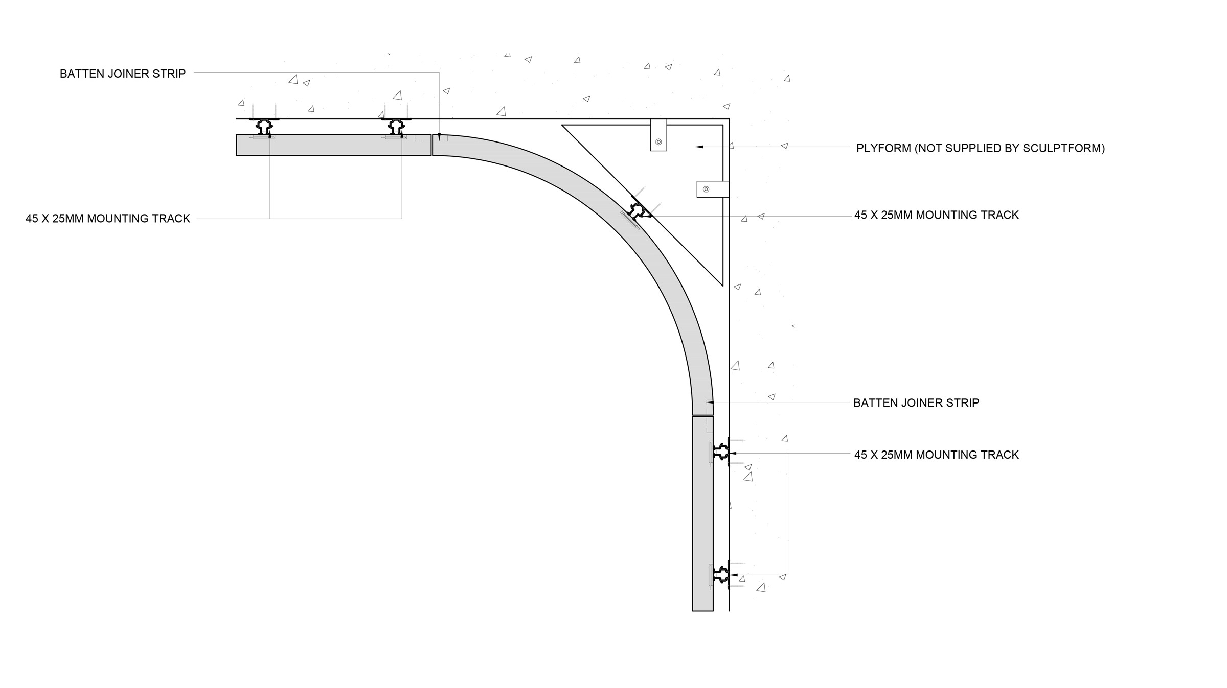 Steam bent curved timber ceiling to wall detail