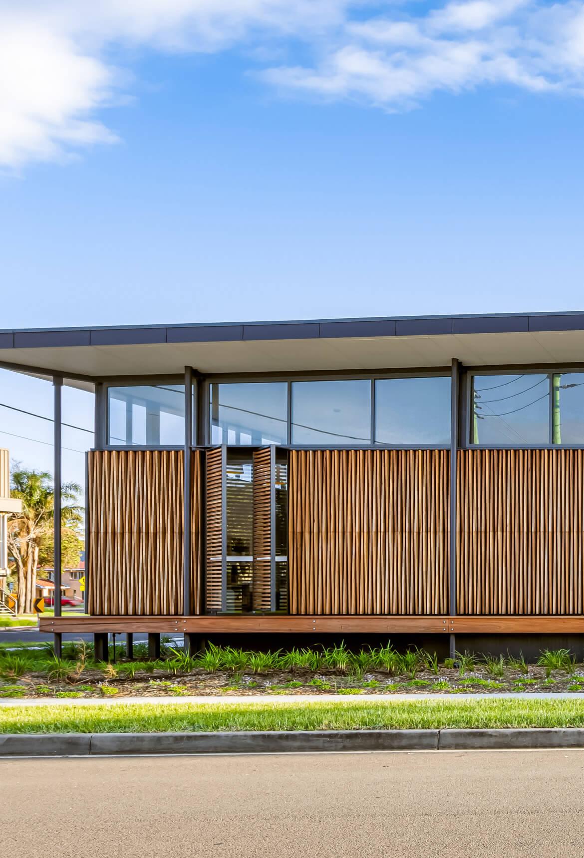 Warilla Library timber battens