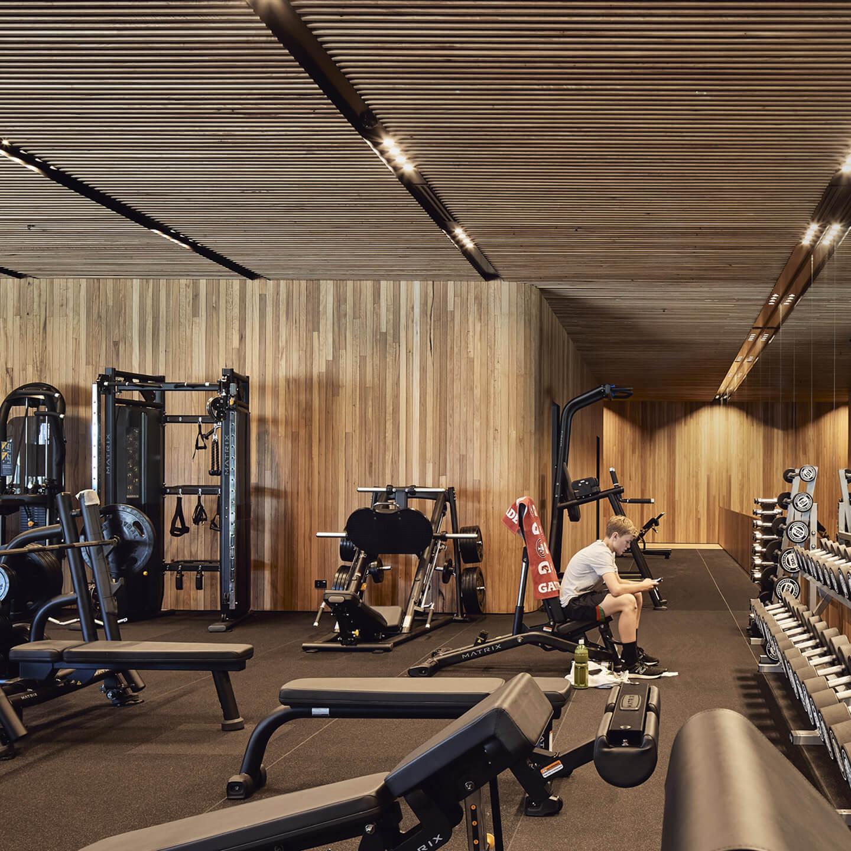 Gunyama Park gym timber feature walls