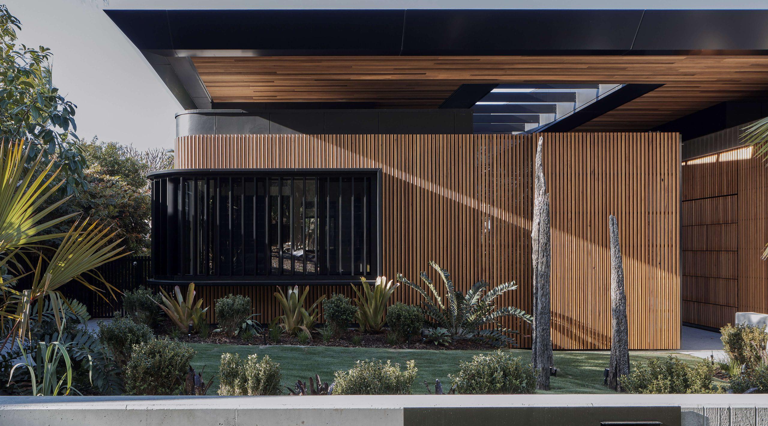 Exterior timber batten wall Cove House