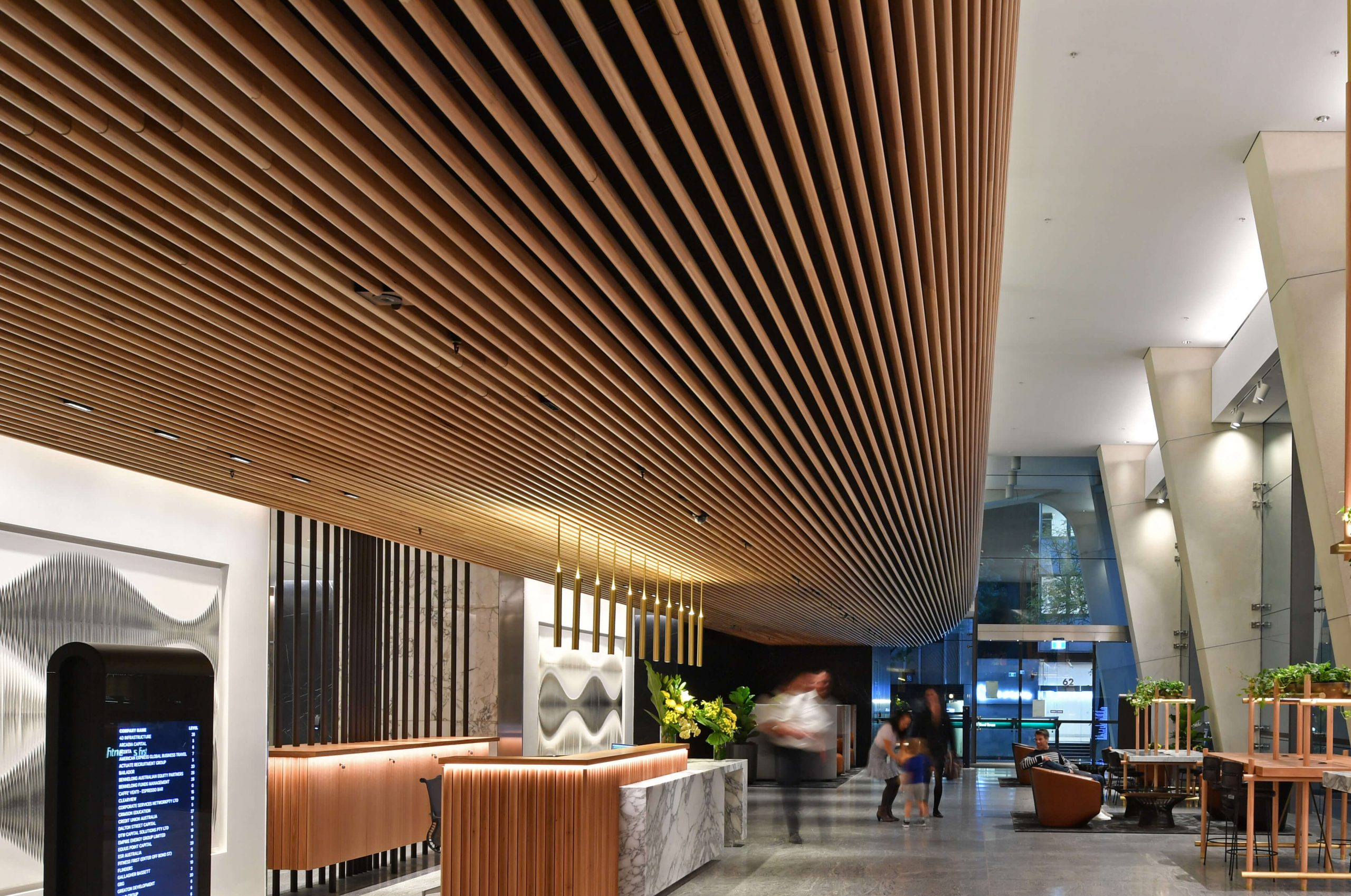 Curved timber ceiling